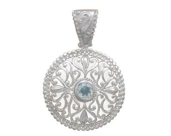 Filigree Blue Topaz Pendant 925 Sterling Silver Round Beaded Edge