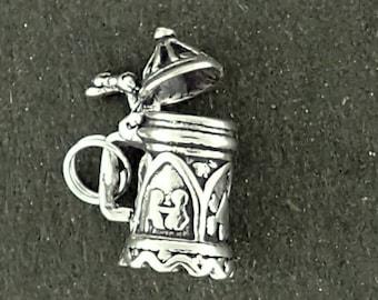 Beer Stein Charm Sterling Silver Lid Opens German Mug Pendant 3D