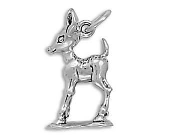 Deer Fawn Charm 925 Sterling Silver Pendant 3d animal