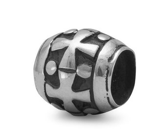 Cross Charm Bead Sterling Silver Black Enamel Crosses Dots Religious