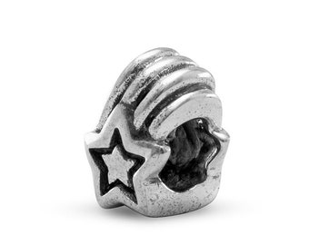 Shooting Star Charm Bead Sterling Silver Celestial Space