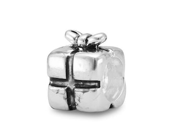 Present with Bow Charm Bead Sterling Silver Black Enamel Ribbon