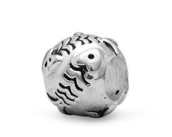 Fish Bones Charm Bead Sterling Silver Round Fossil Skeleton