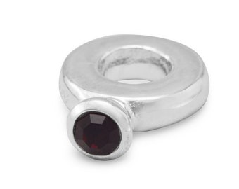 Dark Red Crystal Ring Charm Bead Sterling Silver Large Hole January