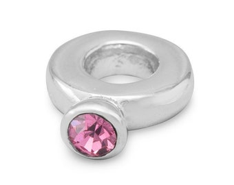 Pink Crystal Ring Charm Bead Sterling Silver Large Hole October
