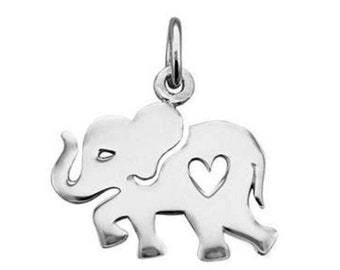Cut Out Heart Elephant Charm Sterling Silver Pendant Pachyderm