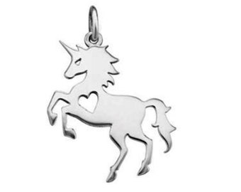 Cut Out Heart Unicorn Charm Sterling Silver Pendant Prancing Horned Horse Fantasy