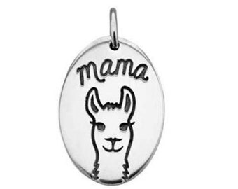 Mama Llama Charm Sterling Silver Pendant Animal Pet