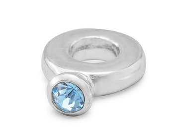 Blue Crystal Ring Charm Bead Sterling Silver Large Hole December