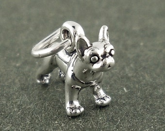 Boston Terrier Dog Charm Sterling Silver Pendant Mini Tiny