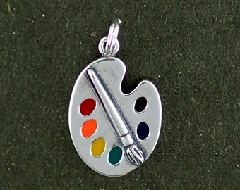 Art Paint Palette Charm Sterling Silver Pendant Multicolor Enamel Artist Hobby Craft
