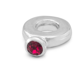 Red Crystal Ring Charm Bead Sterling Silver Large Hole July