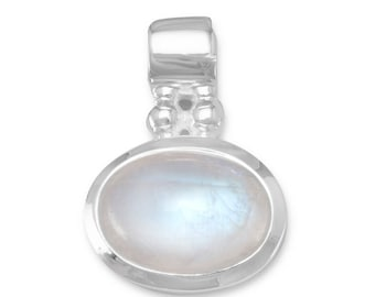 Oval Moonstone Pendant 925 Sterling Silver Charm Polished Finish