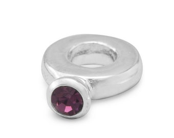 Purple Crystal Ring Charm Bead Sterling Silver Large Hole February