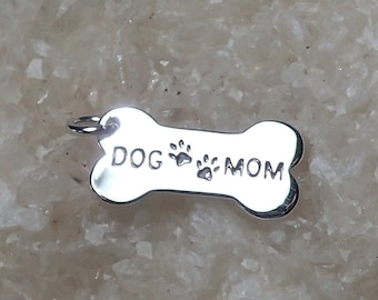Dog Mom Charm Sterling Silver Rhodium Plated Pendant Dog Bone Pet