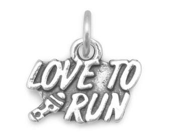 Love to Run Charm 925 Sterling Silver Pendant Sport Marathon Shoe Runner