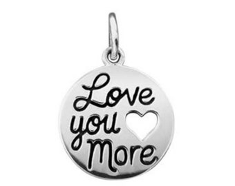Love You More Cut Out Heart Charm Sterling Silver Pendant