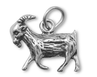 Goat Charm Sterling Silver Pendant Farm Animal