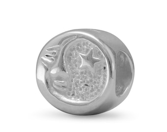 Moon and Star Charm Bead Sterling Silver Disc Shape Crescent Moon Face