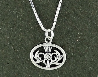 Sterling Silver Thistle Pendant Necklace Box Chain Oval Scottish Scotland Celtic
