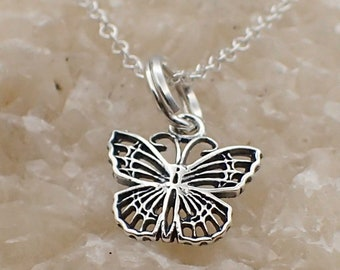 Filigree Butterfly Necklace Sterling Silver Dainty Insect Charm Pendant Cable Chain Bug Garden