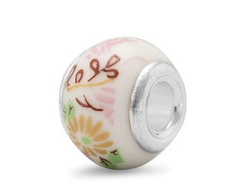 Multi-Color Floral Ceramic Charm Bead Sterling Silver Core Large Hole