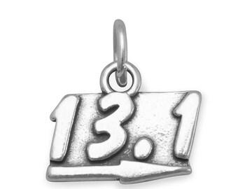 13.1 Half Marathon Charm 925 Sterling Silver runner athlete race sport