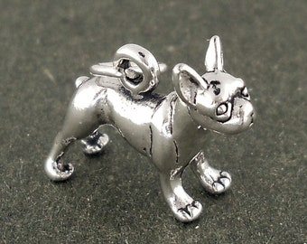 Boston Terrier Dog Charm Sterling Silver Pendant 3d Animal Pet Doggie Puppy