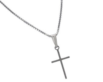 Sterling Silver Thin Simple Cross Pendant Necklace Charm With Box Chain