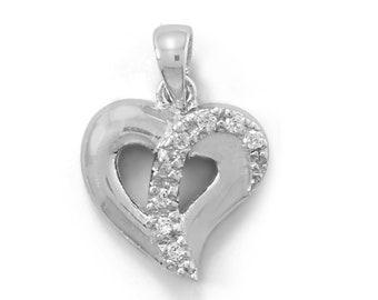 CZ  Heart Pendant 925 Sterling Silver Rhodium Plated Charm Valentine Wedding