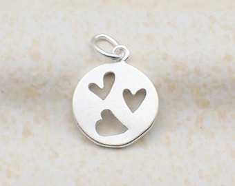 Cut Out Heart Charm Sterling Silver Dainty 3 Hearts Pendant