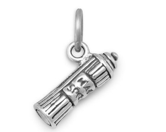 Hairspray Charm Sterling Silver Pendant Hair Spray Can 3D Stylist Barber
