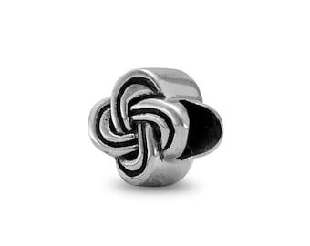 Celtic Knot Charm Bead Sterling Silver Shamrock Clover Shape