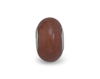Mahogany Tone Obsidian Charm Bead Sterling Silver Core Large Hole