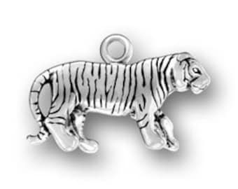 Tiger Charm Sterling Silver Pendant 3D Striped Cat Bengal