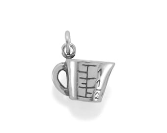 Measuring Cup Charm 925 Sterling Silver Pendant 3d Food Cooking Baking