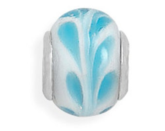Blue Design on White Glass Charm Bead Sterling Silver Core Large Hole
