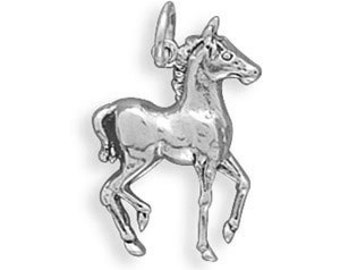 Sterling Silver Horse Charm Pendant Colt Pony Equestrian Cowgirl Cowboy
