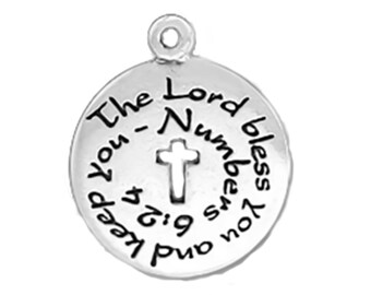 CLEARANCE Sterling Silver The Lord Bless You and Keep You Charm Pendant