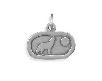 Sterling Silver Howling Wolf Charm Animal Dog