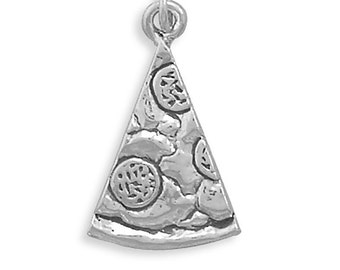 Sterling Silver Slice of Pizza Charm Pendant Food Pepperoni Salami