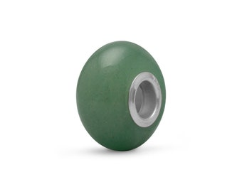 Green Aventurine Stone Charm Bead Sterling Silver Core Large Hole