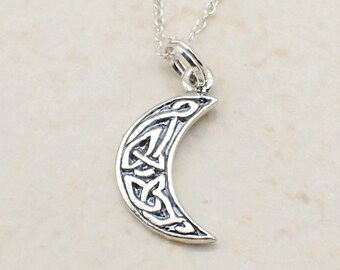 Celtic Moon Necklace Sterling Silver Crescent Moon Charm Pendant Cable Chain Celestial