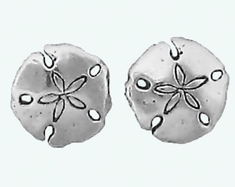 Sand Dollar Earrings Sterling Silver Posts Studs Tiny Mini Seashell Beach