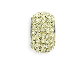 Yellow Pave Crystal Charm Bead Sterling Silver Core Large Hole