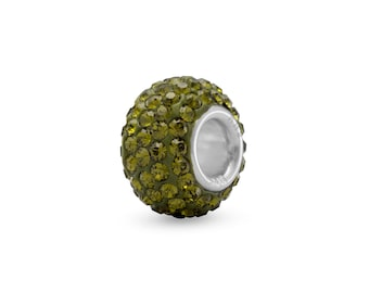 Olive Green Pave Crystal Charm Bead Sterling Silver Core Large Hole