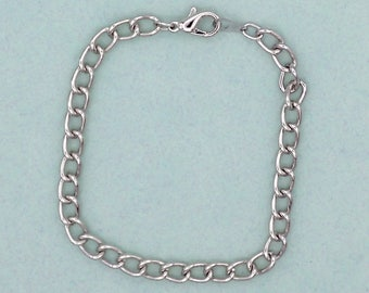 "Charm Bracelet 7-1/4"" Silver Plated Curb Link 5mm wide Lobster Claw Clasp"