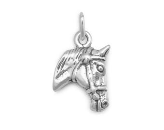 Horse Charm 925 Sterling Silver Pendant Head Bridle Cowboy Cowgirl