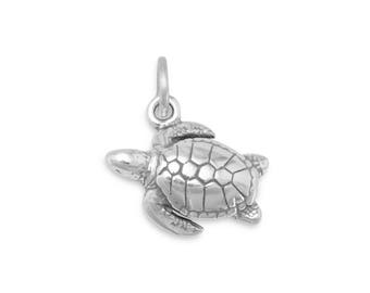 Sea Turtle Charm 925 Sterling Silver Pendant Nautical Tortoise