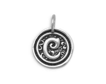 Sterling Silver Letter Charm C Initial Pendant Ornate Disc